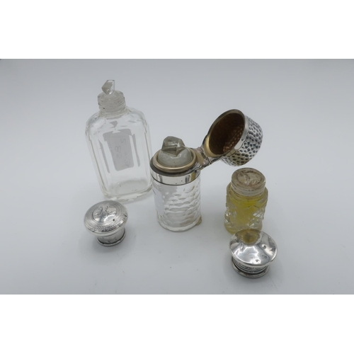 7 - Victorian hallmarked silver screw top faceted glass scent bottle, (H9cm), London 1895, an Edwardian ...