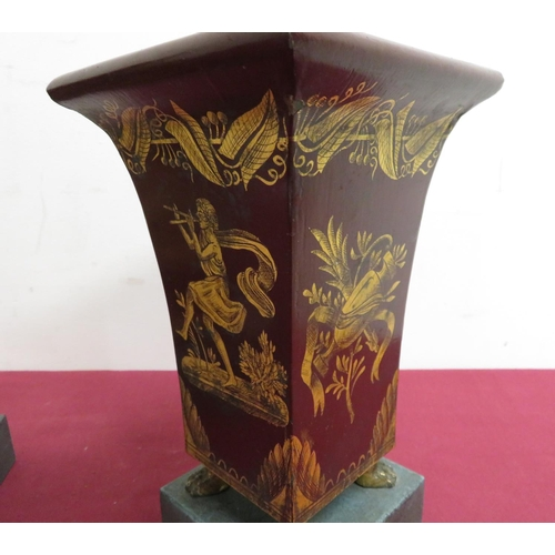 11 - Pair of burgundy Toleware vases of square tapering form with gilt pen work decoration, on gilt metal...