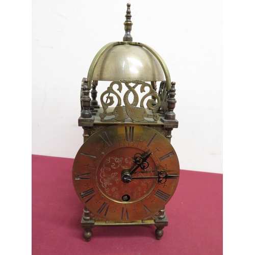 15 - Brass lantern clock with turned top final and striking movement stamped Astral of Coventry 23751 (H2...