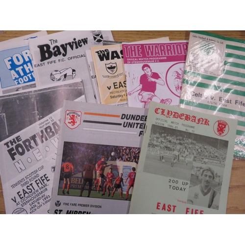 35 - Victorian newspaper, a collection of post 1970s East Fife home and away football programmes includin...