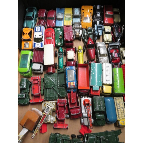 44 - Collection of Matchbox, Lesney and other small scale diecast vehicles, matchbox shop etc (two boxes)...