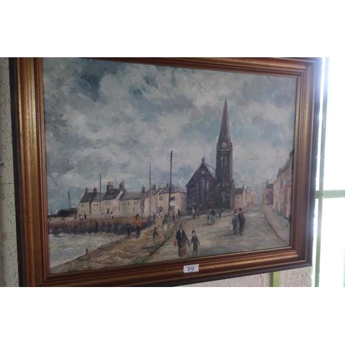49 - Brian Dobson (20th C) Figures on a quayside, oil on board, (44cm x 60cm)...