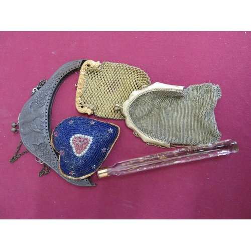 20 - Gilt overlay square scent bottle, two ladies mesh evening purses, heart shaped beadwork pin cushion ...