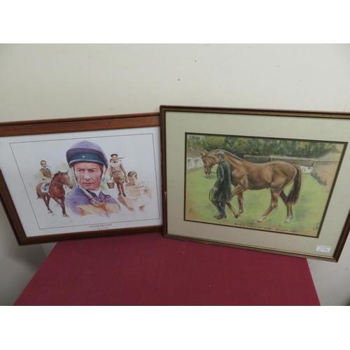 53 - Gary Keane 'Lester Piggott' Ltd.ed. colour print 303/495 signed by both, 34cm x 49cm and Pastel stud...