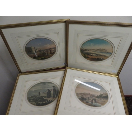 54 - Set of four colour prints of Scarborough, North Gate of Castle, View from the Sands & Esplanade etc,...