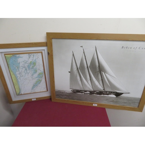 55 - Beken of Cowes, Creole 1939, monochrome photo, 46cm x 34cm and a relief map of Goodwin Sands (2)...
