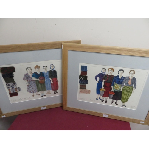 56 - 'La Rondine' Venice, pair of cartoon studies with fabric swatches, watercolour, signed and titled in...