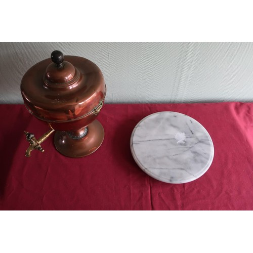 67A - Copper samovar (A/F) and a marble circular Lazy Susan (2)...
