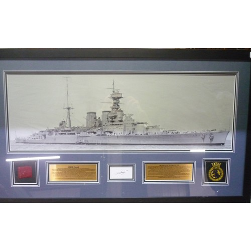 50 - Large framed display for HMS Hood, featuring a large black and white photograph of the ship, a fragm...