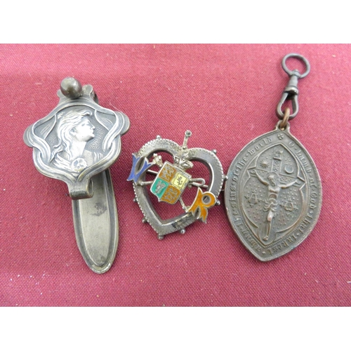 29 - Art Nouveau silver plated Chatelaine clip L6cm, a Victorian white metal & enamel brooch and a Victor...