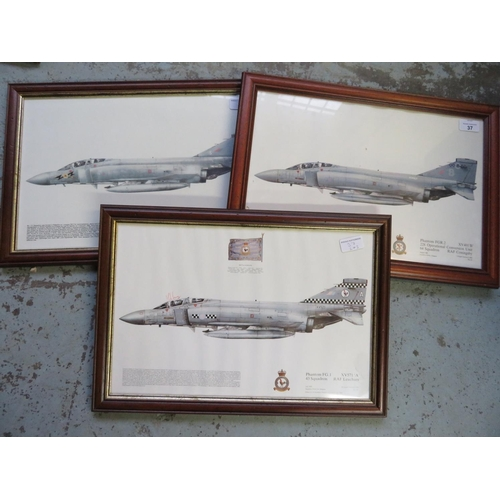37 - Three framed prints of Phantoms Aircraft from the 64, 43, and 111 Squadrons, 35cm x 49cm...