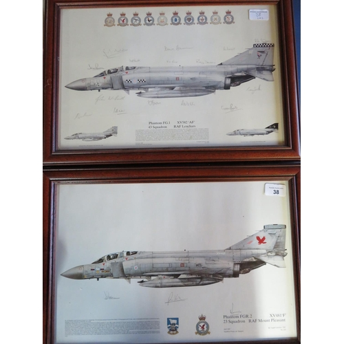 38 - Two framed squadron prints of Phantom Aircraft, 23 and 43 Squadrons, both signed by various crew mem...