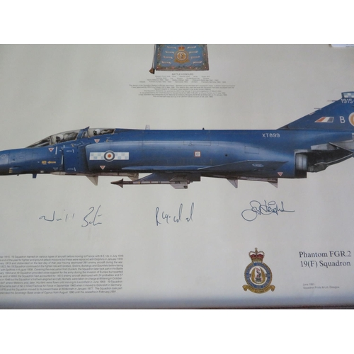 39 - Two framed prints of Phantom Aircraft, Squadrons 19 and 92, both signed by various crew members, 49c...