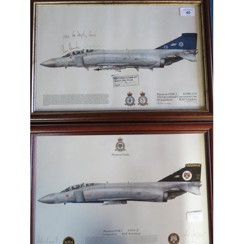 40 - Two framed prints of Phantom aircraft, one of 64 squadron, signed by the 1990 F4 display crew, featu...