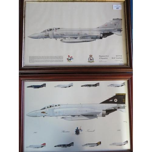 41 - Framed print of Phantom Aircraft Squadron 43, and a framed Phantom Farewell print by S Black no. 1/9...