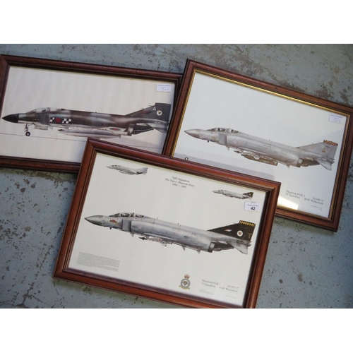 42 - Three framed prints of Phantom Aircraft, squadrons 74, 92 and 43 (3), 49cm x 34cm including frames...