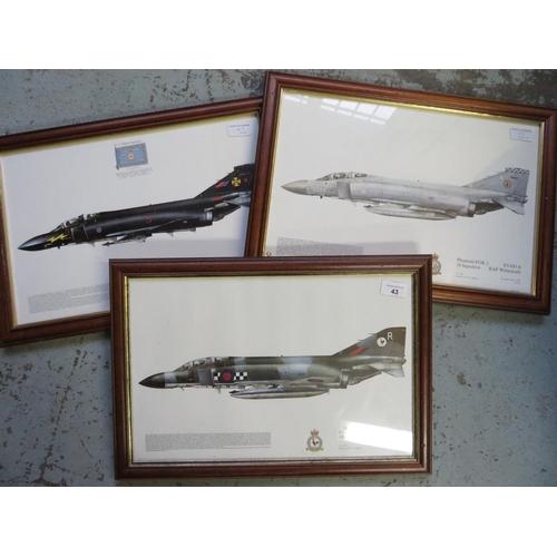 43 - Three framed prints of Phantom Aircraft, Squadrons 43, 19 and 111 (3), 49cm x 34cm including frames...
