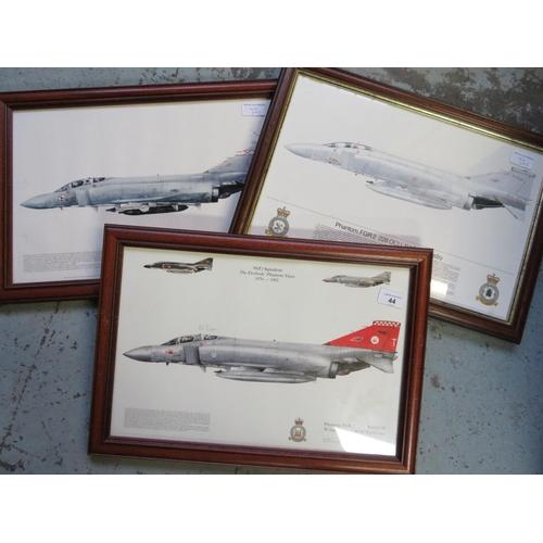 44 - Three framed prints of Phantom Aircraft, Squadrons 56, 2280CU and 29 (3), 49cm x 34cm including fram...