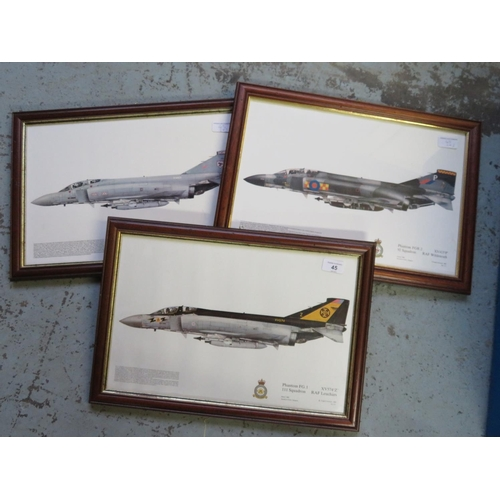 45 - Three framed prints of Phantom Aircraft, Squadrons 111, 92 and 29 (3), 49cm x 34cm including frames...