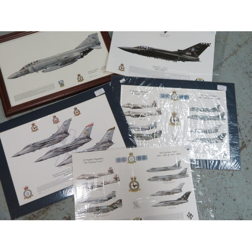 46 - Unframed print of squadron 43 The Leuchars with various aircraft, mounted print of squadron 43 RAF T...
