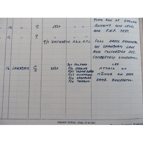 48 - Facsimile copy of pilots flying logbook for Wing Commander Guy Gibson DFC, including details of the ...