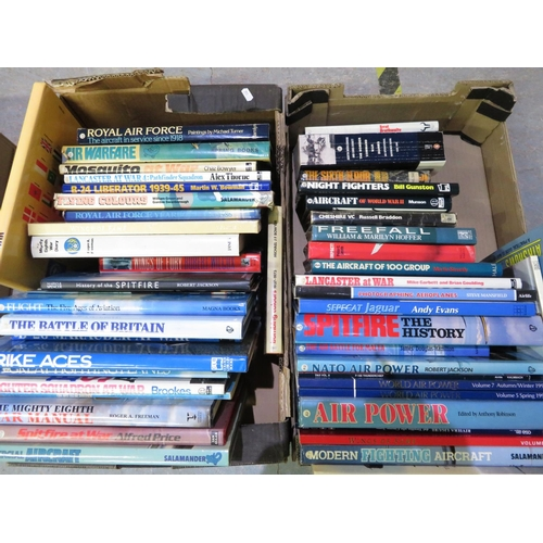 54 - Two boxes containing a large quantity of military aircraft and WWII books, including The Royal Air F...