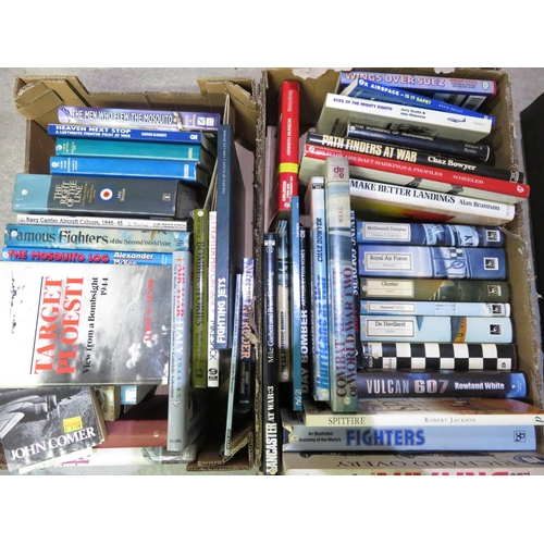 55 - Two boxes containing a large quantity of military aircraft books, including The Men Who Flew The Mos...