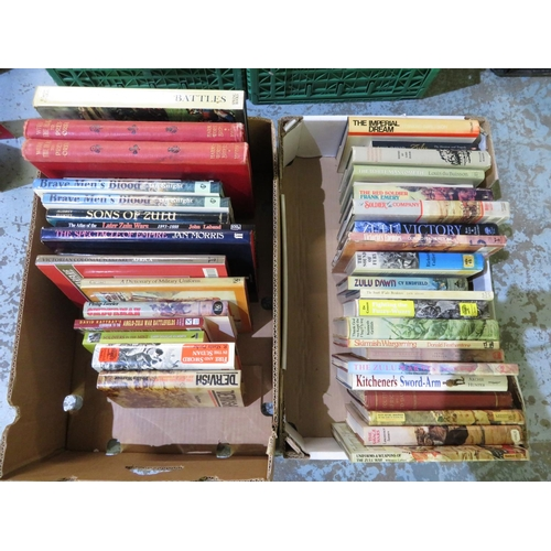 57 - Two boxes containing a large quantity of the Zulu Wars and colonial interest books, including Zulu V...
