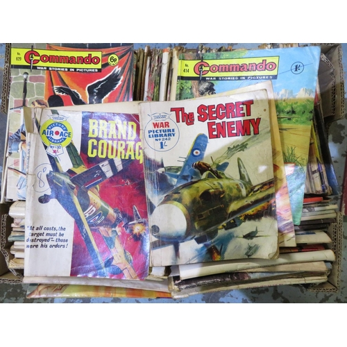 59 - Box containing extremely large quantity of The Commando paperback comics, including The Black Eagle,...