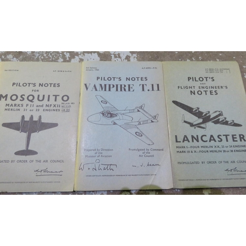 61 - Three pilot notes pamphlets: Pilots Notes For Mosquito, Pilots Notes For Vampire T.II, Flight engine...