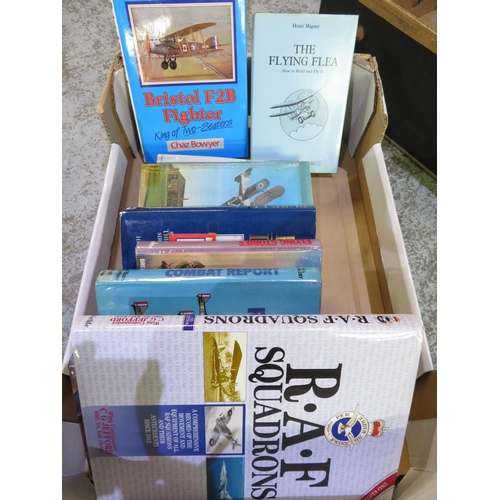 66 - Box containing a large quantity of WWI flight related books, including The Flying Flea, Pure Luck, T...