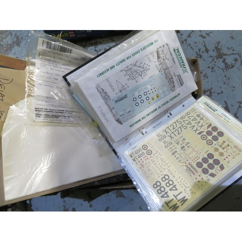 75 - Box containing a large quantity of decal and insignia for a variety of model aircraft...