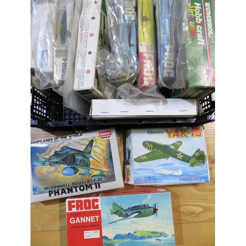 77 - Quantity of model aircraft kits including Phantom 2, The Gannet, Yak 15 etc (12 kits, 1 Airbrush)...