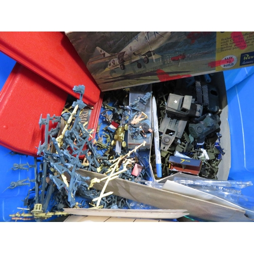 80 - Collection of military gaming figures including WWI, gaming figures of astronauts, some metal some p...