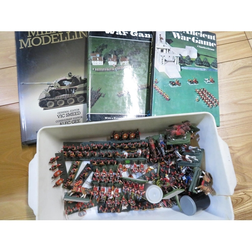 82 - Selection of quality painted military gaming figures mainly Romans, and three war game books - Ancie...