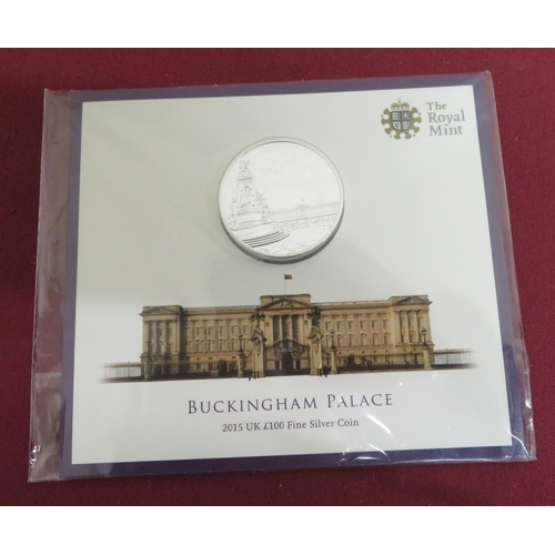 12 - The Royal Mint Buckingham Palace 2015 UK £100 Fine Silver Coin, in original packaging...