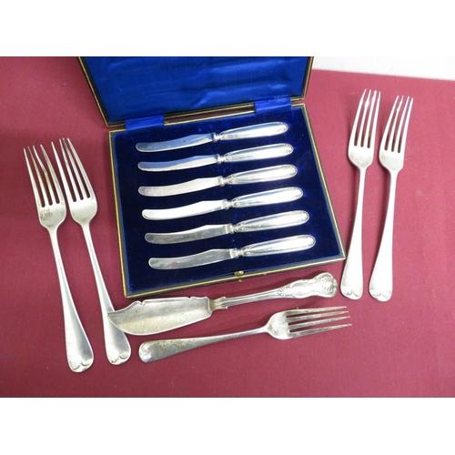 28 - Victorian hallmarked silver Kings pattern fish knife, Birmingham 1885, set of four Edw. Vll Old Engl...