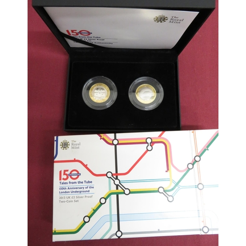 3 - Royal Mint 150th Anniversary of the London Underground, Tales from the Tube, £2 silver proof two coi...