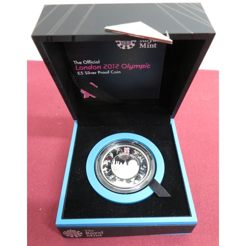5 - Royal Mint The Official London 2012 Olympic £5 Silver Proof Coin, in case