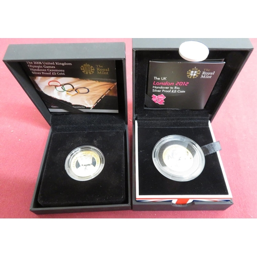 7 - Royal Mint The Official London 2012 Handover to Rio Olympic £2 Silver Proof Coin, & 2008 UK Olympic ...