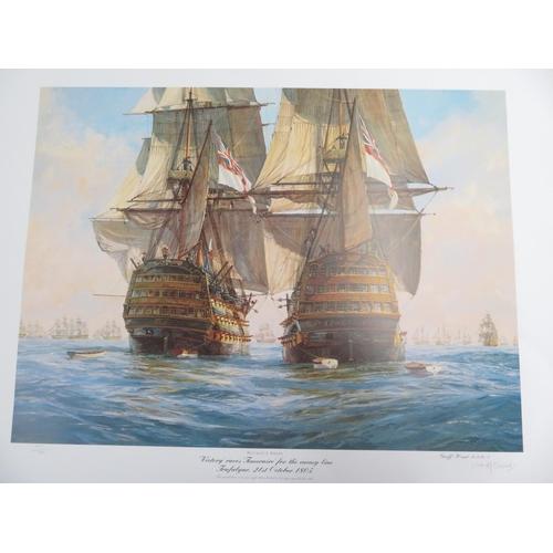 117 - Geoff Hunt, 'HMS Victory at Trafalgar', three ltd. ed. prints, signed by artist, after Robert Taylor...