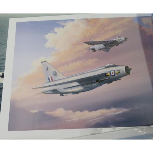 97 - Artists folio containing loose prints of aircraft, including: Phantom 2, F16, SE5a, Sopwith Camel, P...