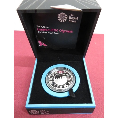 4 - Royal Mint The Official London 2012 Olympic £5 Silver Proof Coin, in case...