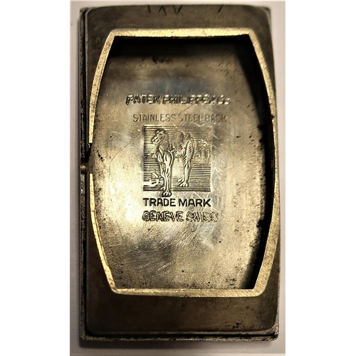 408 - 1930's Patek Philippe manual wound wrist  watch.  Rectangular gold plated case, snap on curved stain...