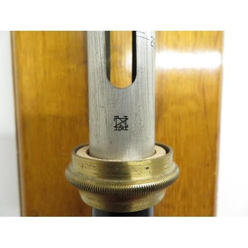 465 - Negretti & Zambra of London stick barometer on golden oak wall plaque...