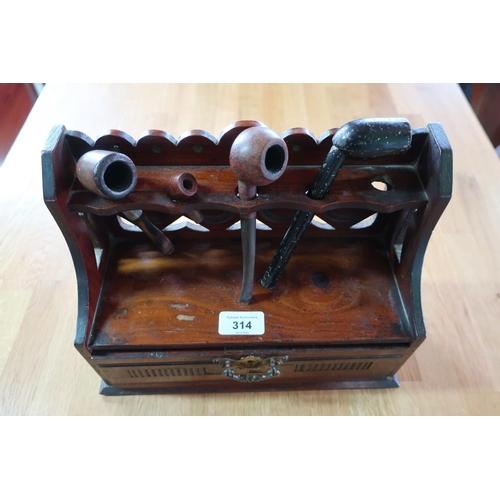 482 - Edwardian walnut pipe rack, raised back with single drawer with brass handle (H30cm x W23cm x D12cm)...