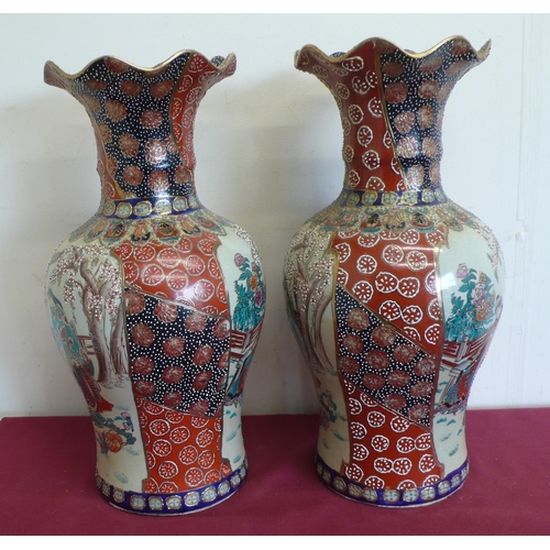 487 - Pair of Japanese satsuma vases, baluster bodies with trumpet shaped necks, decorated with female fig...