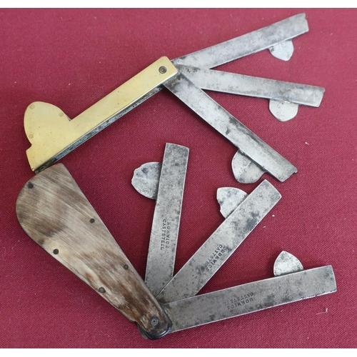 495 - Brass fleam, three steel blades marked Wharton, another horn fleam, three blades stamped Borwick Cas...