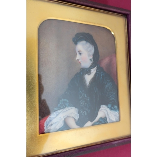 497 - Victorian miniature portrait study of a lady, seated half length in a chair, watercolour on ivory, i...