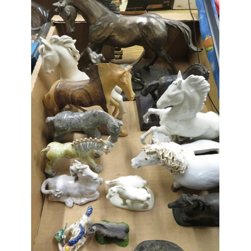 499 - Bronzed model of a running horse and a dog, other various ceramic models of horses and a J Wilkinson...